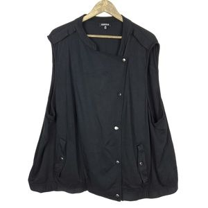 Torrid Black Twill Knit Snaps Drape Front Vest